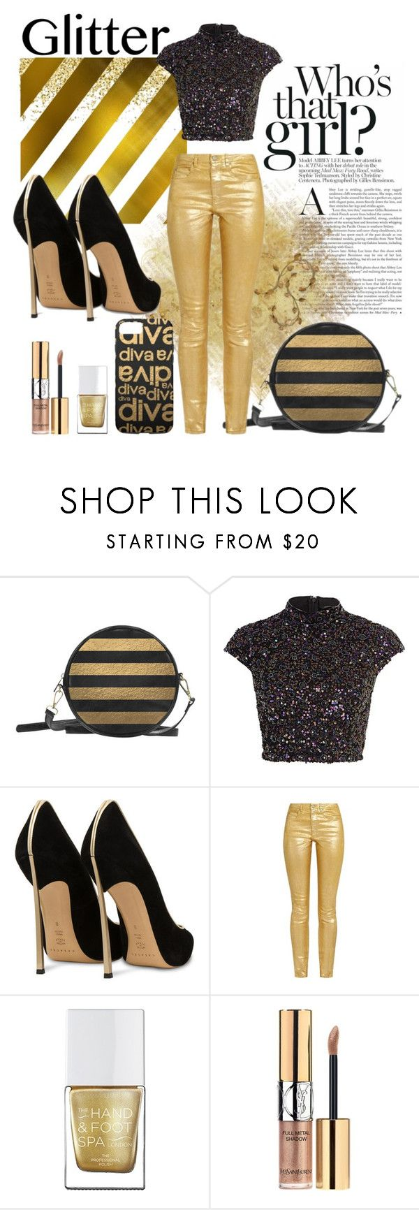 """""""Glitter, Darling!"""" by colormegirly ❤ liked on Polyvore featuring River Island, Casadei, The Hand & Foot Spa, Yves Saint Laurent, handbags, fashionset and polyvoreset"""