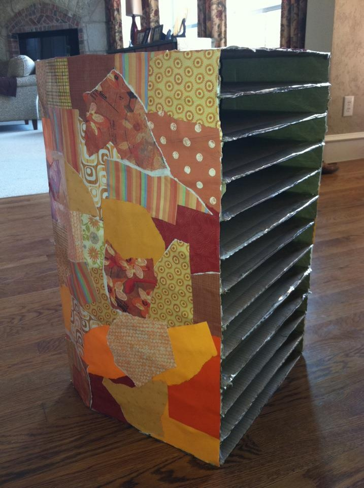 Pizza box drying rack.   Idea from teachpreschoo.org - I just added a decorative outside by decoupaging the outside with scrapbook paper.
