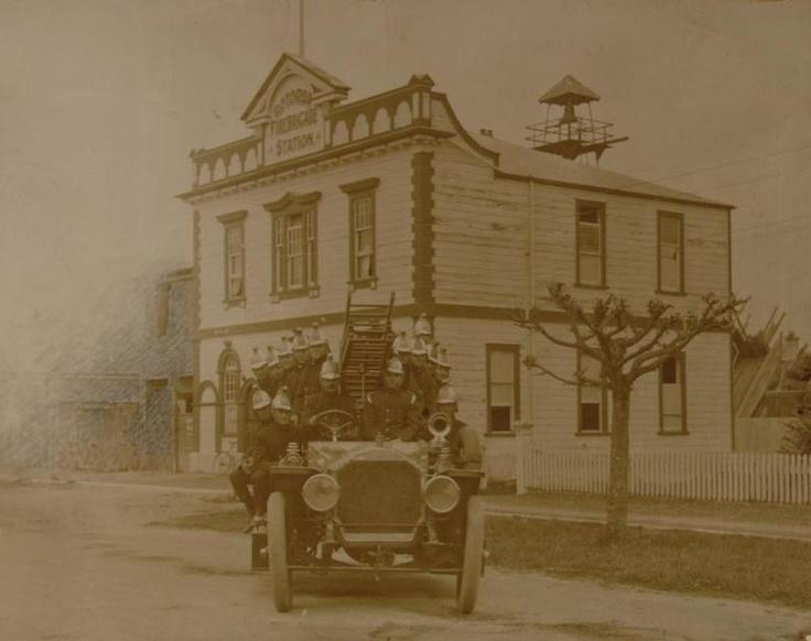 Fire brigade outside station, Haupapa Street, Rotorua, Circa 1921 (Museum image)