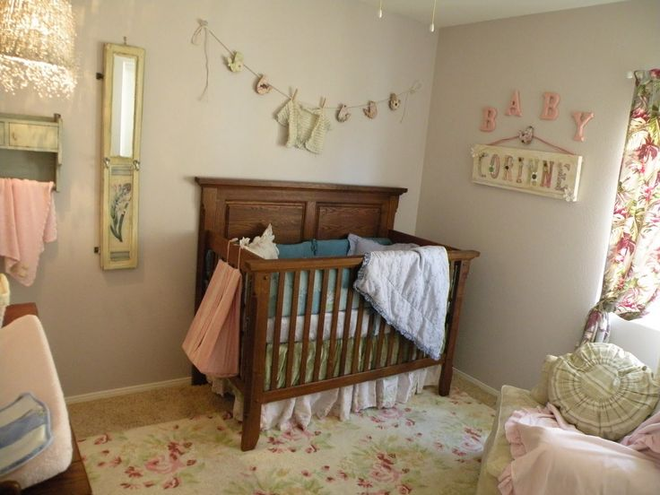 Vintage Eclectic Girl's Baby Nursery Room Designed By