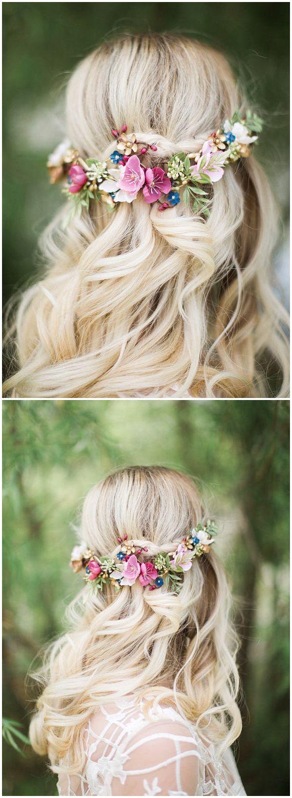 bridal hair clip, bridal headpiece, floral hair vine, dusty mauve hair piece, pink hair clip, gold, navy hair flower, burgundy hair flower #weddings #weddinghairstyles