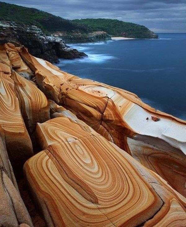 Liesegang Rings in Bouddi National Park, New South Wales, Australia. Liesegang rings (also called Liesegangen rings or Liesegang bands) are colored bands of cement observed in sedimentary rocks that typically cut-across bedding. The precise mechanism from which Liesegang rings form is not entirely known and is still under research.