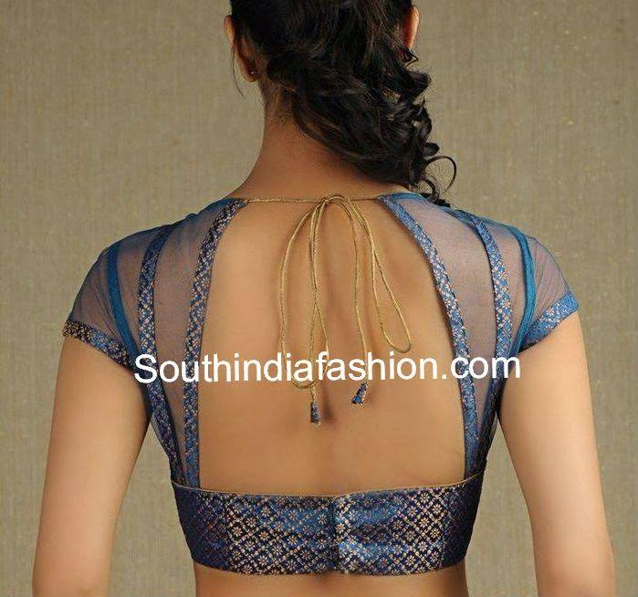 Brocade and Net Saree Blouse ~ Celebrity Sarees, Designer Sarees, Bridal Sarees, Latest Blouse Designs 2014