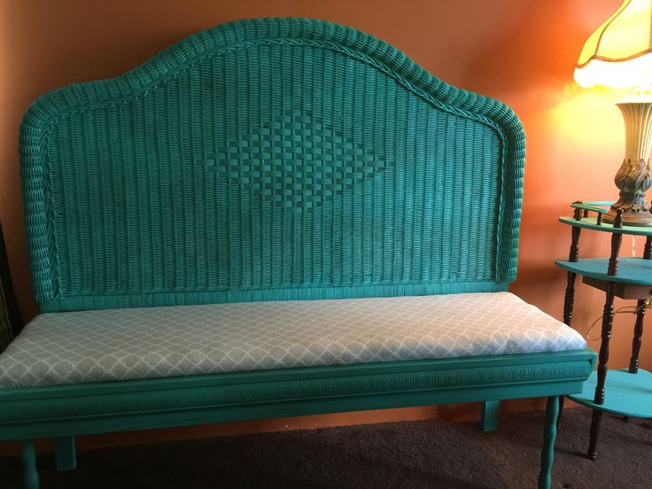 Refurbished Wicker Headboard Bench Refurbished