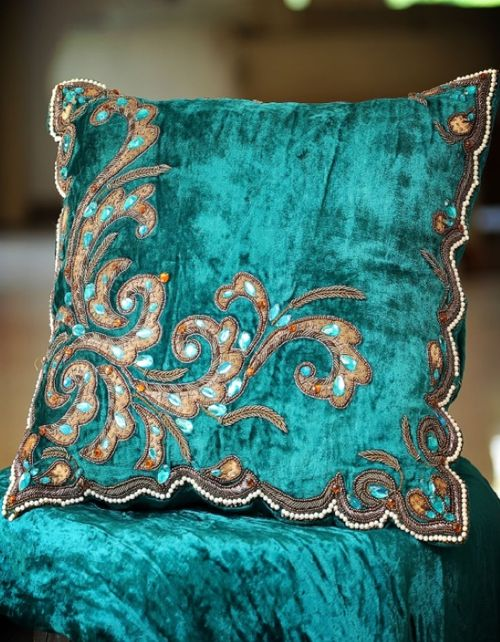 Turquoise pillow #turquoise  [ CandaceWilsonArtStudio.com ]