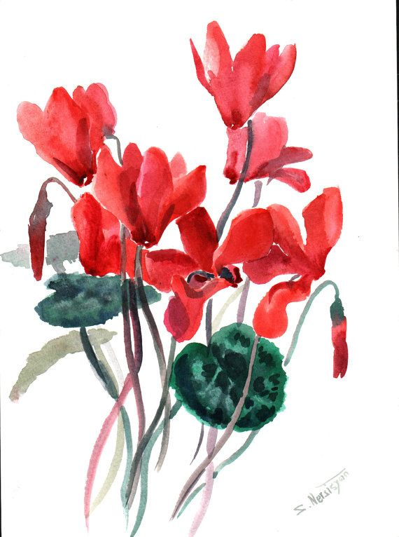 Cyclamens original watercolor painting 9 X 12 red by ORIGINALONLY, artist Suren Nersisyan