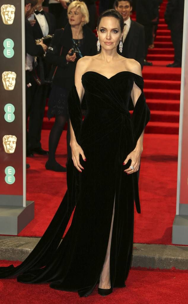 Angelina Jolie from 2018 BAFTA Film Awards: Red Carpet Arrivals  The actress stuns in a sweeping black gown.