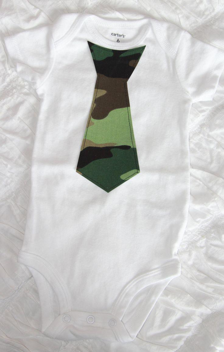 Tie Onesie/ Bodysuit, Bow-tie onesie Bodysuit. Little man. Camo. Camouflage. Green. Army. Military. Navy. Newborn. Baby Shower. 1st Birthday by LittleCutees on Etsy https://www.etsy.com/listing/209602572/tie-onesie-bodysuit-bow-tie-onesie
