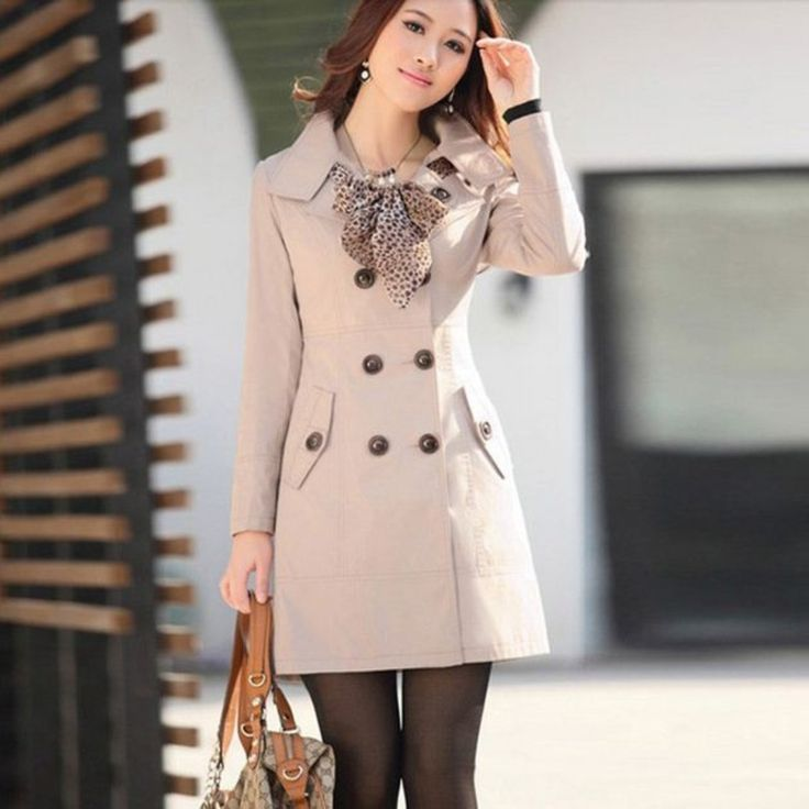 Double Breasted Women Trench Coat With Scarf – Daisy Dress For Less