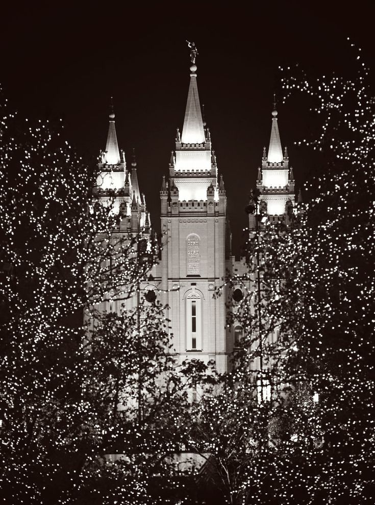 I love the black and white. It looks majestic and simple and elegant.   Salt Lake LDS Temple Christmas Lights Black and White Photo Mormon