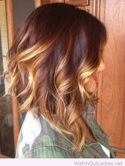 Red ombre and a long curly bob