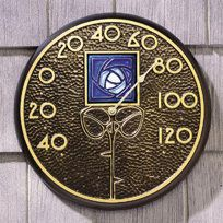 Wall Thermometer with Dard Hunter Blue Rose Motif, Mission Garden, Accessories