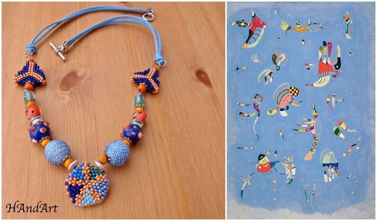 Size / Weight/Material a total of approx. 55 cm  weight 34 g.  Used materials Fastener from metal, glass beads, leather tape, hand-crocheted; wood and metal beads  Production kind Hand-made