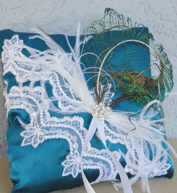 Wedding Teal And White Ring Bearer Pillow White by Chuletindesigns, $28.00