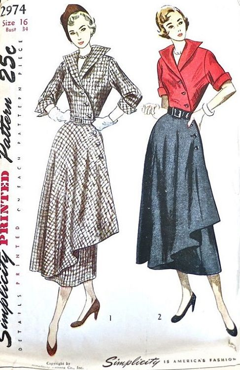 """Simplicity 2974. 1949 One-Piece Dress. Bust 34"""". Traced copy. Complete."""