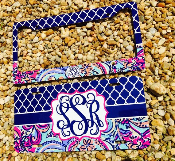 NEW Monogram License Plate Frame  Lily Pulitzer by TheGlitterSquad