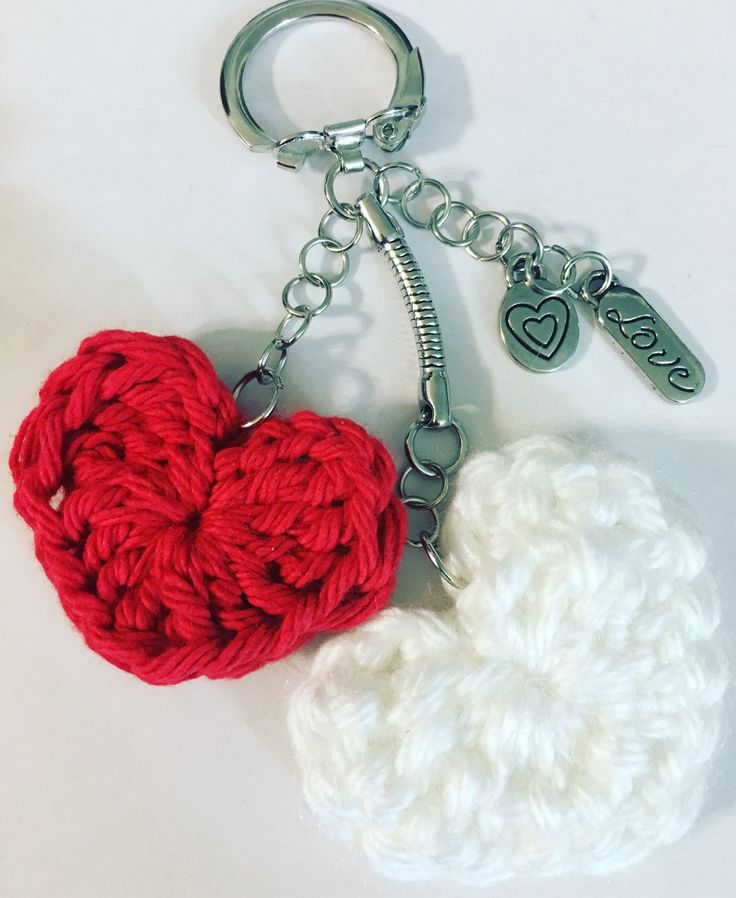 Excited to share the latest addition to my #etsy shop: Crochet Heart keychain, zipper pull, purse charm #accessories #keychain #crocheted #crochet #whiteheart #redheart #pursecharm #heart #heartkeychain