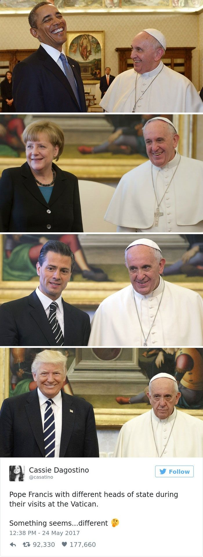 10  Of The Funniest Reactions To Super Sad Pope Meeting The Trumps ➦➦ http://www.diverint.com/memes-imagenes-graciosas-semestre-dan-calificaciones