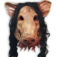 Wish   Halloween Masquerade Mask 3 Saw Pig Mask hair and pig masks horror spoof party masks