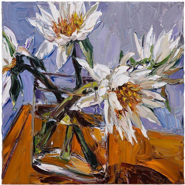 © Nicholas Harding ~ Still life with water lilies and vase ~ 2014 Oil on linen at Olsen Irwin Gallery Sydney Australia