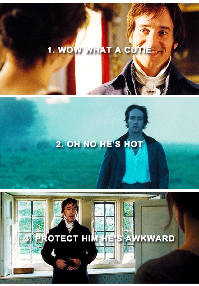The stages of Fitzwilliam Darcy Fangirling