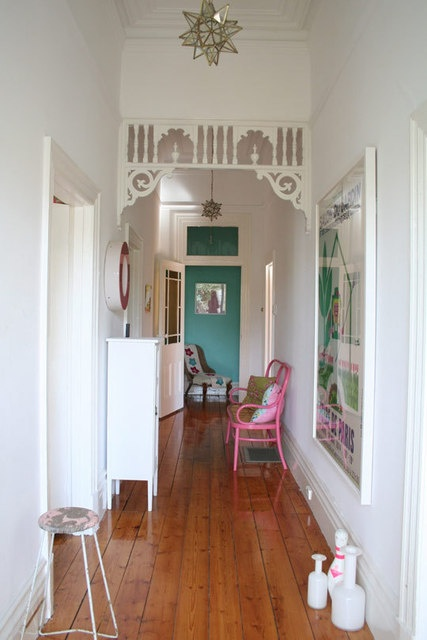 AT: Heather's eclectic home - bright, colorful entryway