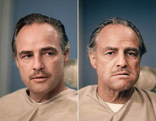 Marlon Brando before and after makeup on the set of The Godfather (1972).