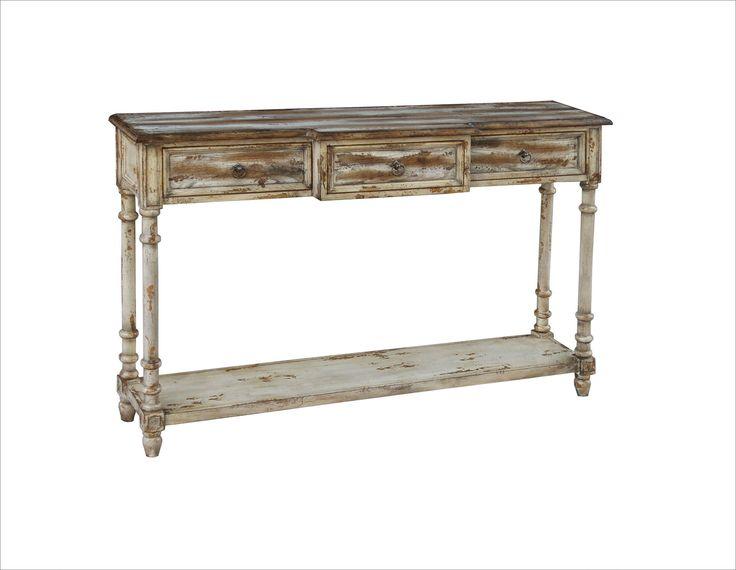 pulaski furniture rustic distressed chic three drawer console table