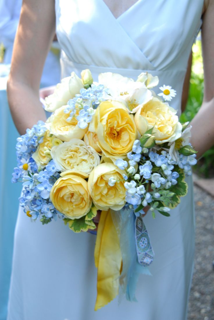 Yellow and Periwinkle Bridal Bouquet @Breeze Floyd i changed my colors again to periwinkle (it's bluebird at davids bridal) and canary