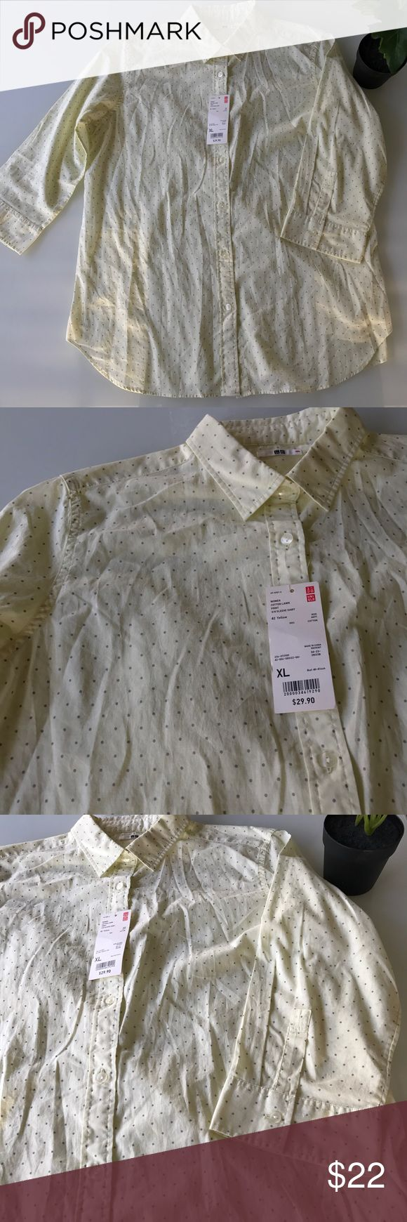 "UNIQLO button down 3/4 sleeve UNIQLO button down 3/4 sleeve shirt / women cotton lawn print / 100% cotton / bust 40 - 41"" Uniqlo Tops Button Down Shirts"