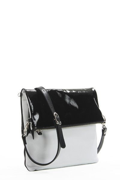 Lily in Black Liquid and White Pebble Leather available at Jean Paul Fortin