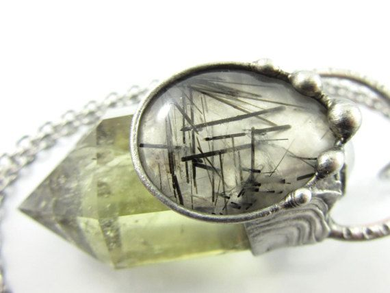 the sylph  moonstone tourmalinated quartz & by callistojewelry