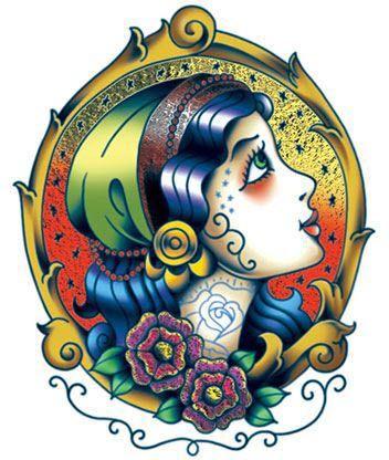 Radiant foil tattooed gypsy girl temporary tattoo, a gypsy beauty with a tattoo. #t4aw #tattooforaweek #temporarytattoo #primsfoil #gipsy #girl