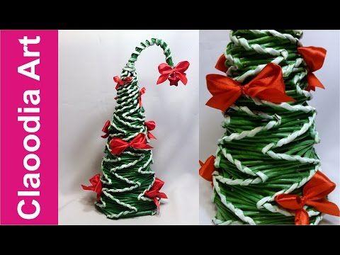 Cómo hacer un árbol de Navidad con papel de mimbre? - YouTube
