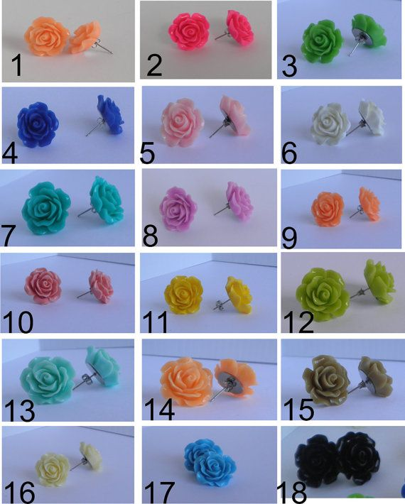 20mm Open Rose Stud Earrings on Hypoallergenic Posts.  19 Colour Choices