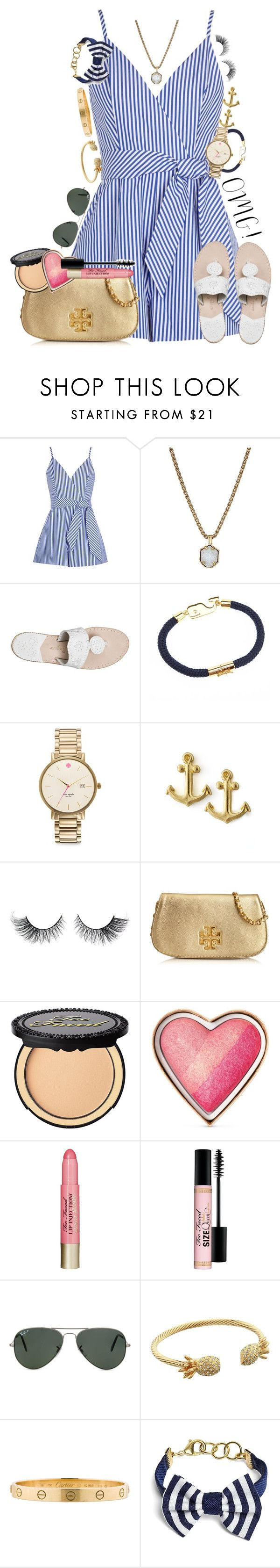 """""""profile pic is such a personality pic of me"""" by thefashionbyem ❤ liked on Polyvore featuring Finders Keepers, Kendra Scott, Jack Rogers, Kate Spade, Dogeared, Tory Burch, Too Faced Cosmetics, Ray-Ban, Lilly Pulitzer and Cartier"""