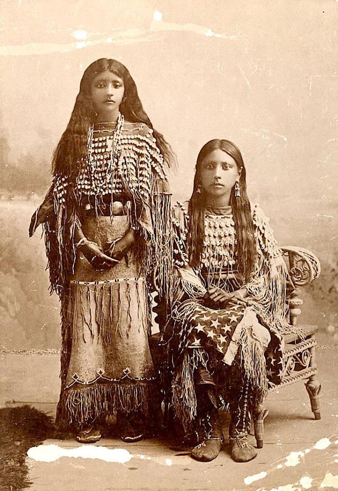 """Kiowa girls (one is named """"Josie""""). ca. 1890. Photo by C.C. Stotz."""