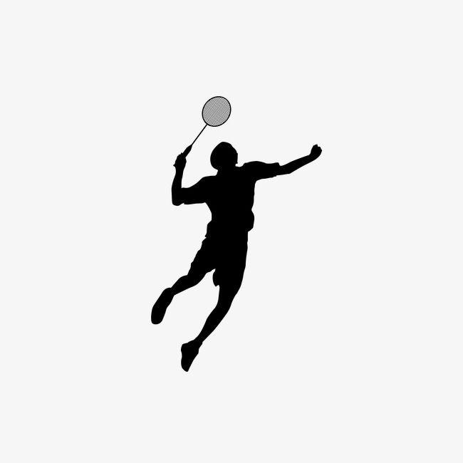 Badminton Silhouette Figures Atlet Olahraga Gambar