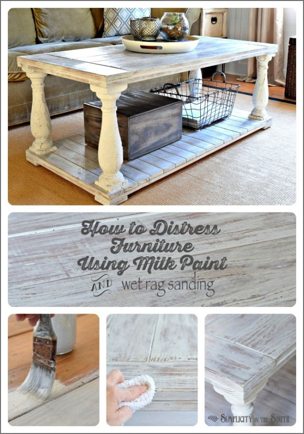 How to distress furniture. This uses MMS milk paint in Grain Sack as the base coat. Then distressing is done with a wet rag. It's an easy wa...