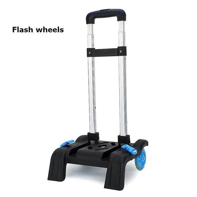 2 Wheel Fold Pull Rod Bracket Roll Cart Trolley School Bags Mochila Infantil Rodinha Mochilas School Kids Flash Wheels