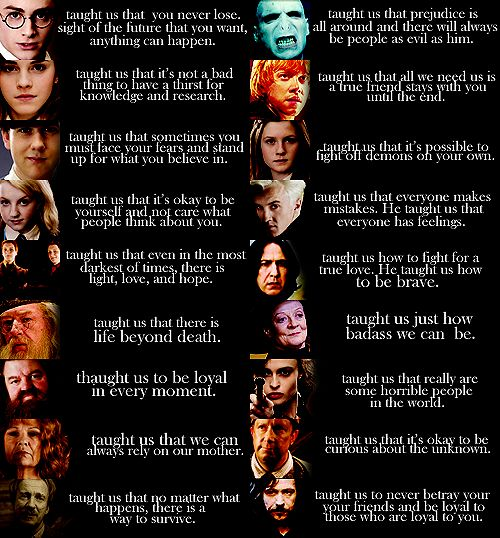 I agree with all...except for Ron. Need I remind people about what happened in The Goblet of Fire and in the Deathly Hallows? Sure he came back...but a true friend wouldn't leave in the first place.: Geek, Potter Taught, Quotes, Nerdy, Life Lessons, Movies, Book, Harry Potter, Potterhead