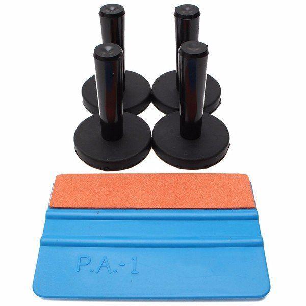 4pcs Gripper Magnet Holder Suede Felt Squeegee Window Tint Tool Kit For Car Vinyl Wrap