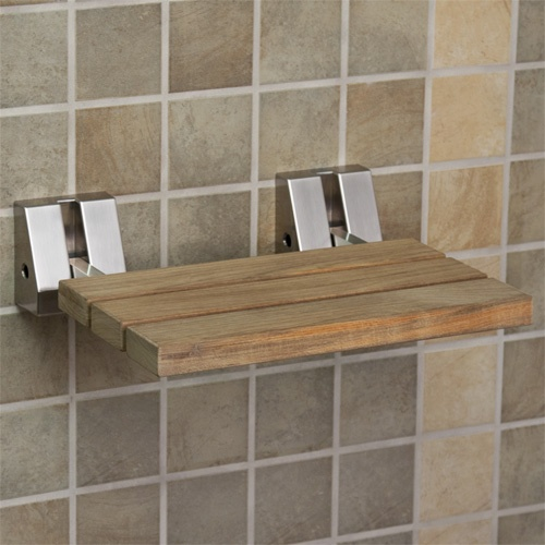 Baño Handicap Medidas:Wall Mounted Teak Shower Seat
