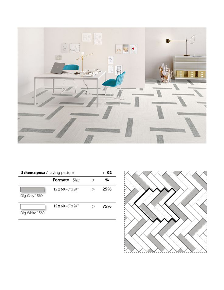 This pattern from our DigitalArt series is created using a layout of our White and Grey colour porcelain tiles.