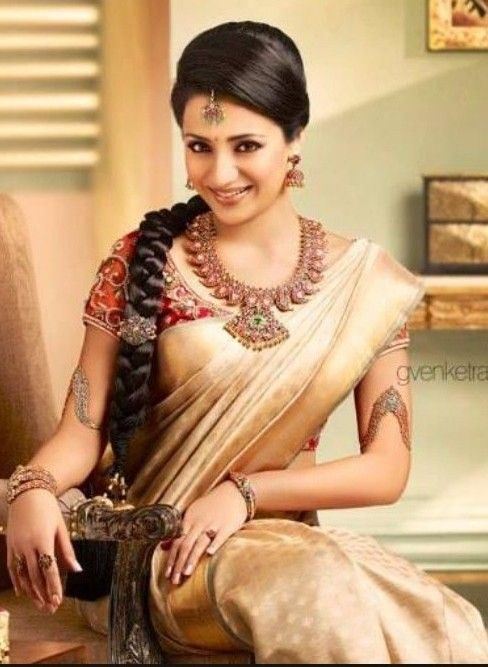 Trisha in silk saree and ruby jewallary