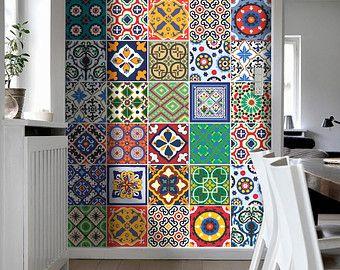 Traditionele Spaanse Tegels Stickers - keuken Tegels – badkamertegels - badkamertegels - Pak van 48 - SKU:TalaveraSpecialTiles