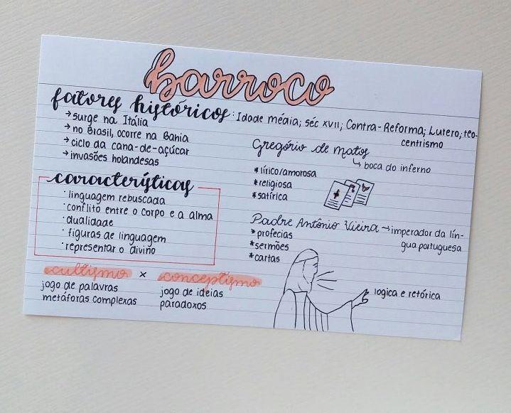 "Juliana Miranda no Instagram: ""Resumo de Escolas Literárias : Barroco Canetas: stabilo boss pastel pêssego | pentel energel needle point 0.5 | uni pin 0.2 | faber castel…"""