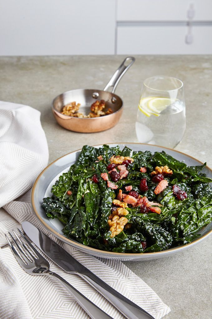 Simple Lacinato Kale Salad | The Worktop -- with walnuts, bacon and a lemon dressing. Get this #SuperBrunch recipe!