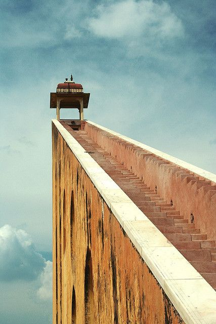Stairs to Samrat Yantra: The main tower of the Samrat Yantra at Jantar Mantar in Jaipur, India. The Yantra is a 75 ft tall sundial which is accurate to 20 seconds. We tested it against a friend's watch which was set to the atomic clock. It was less than a minute off.