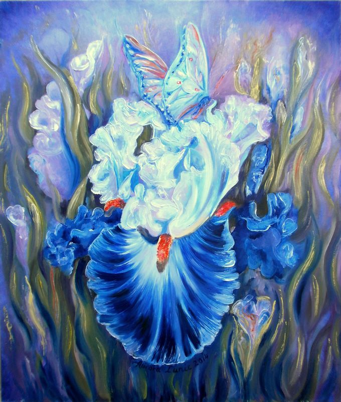 """In the World of Iris"" painting oil on canvas, 60cm/50cm, 2014, by Aurora Lunic"